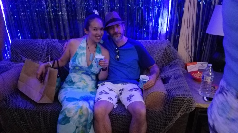 Todd and I at the Just Keep Swimming Room Party