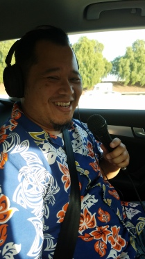 Adrian recording our podcast in the car!